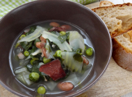 Minestrone with fennel, swiss-chard and peas