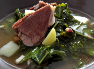 Mutton ham with marrow-stem kale