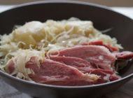 Sautéd sauerkraut with leg of pork and dumplings